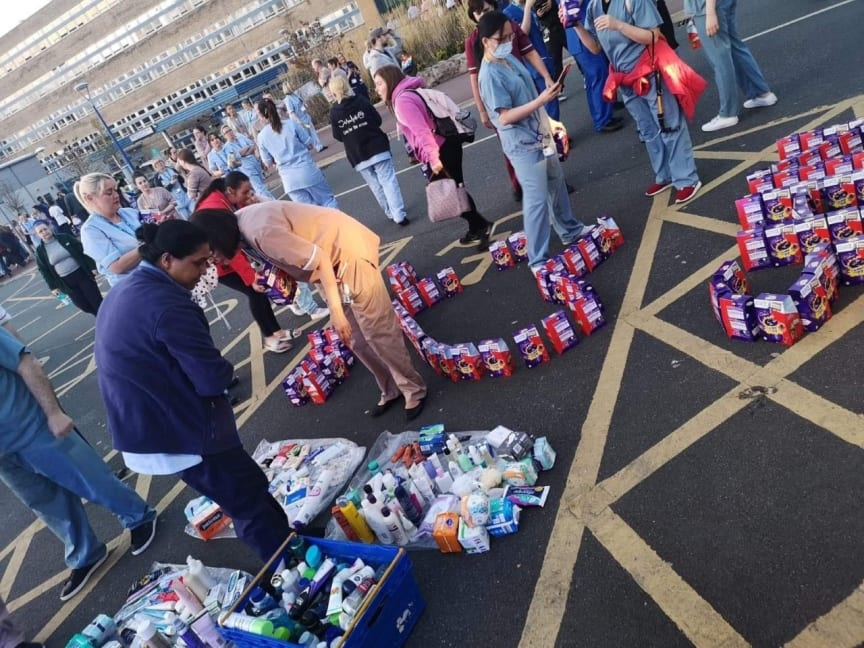 Some of the toiletries and other items already donated to the NHS