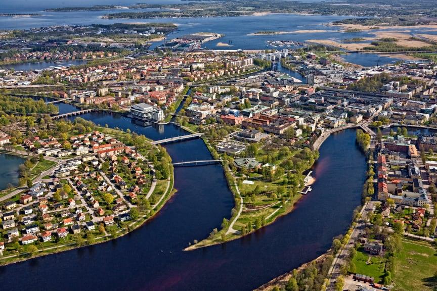 Flygfoto över Karlstad