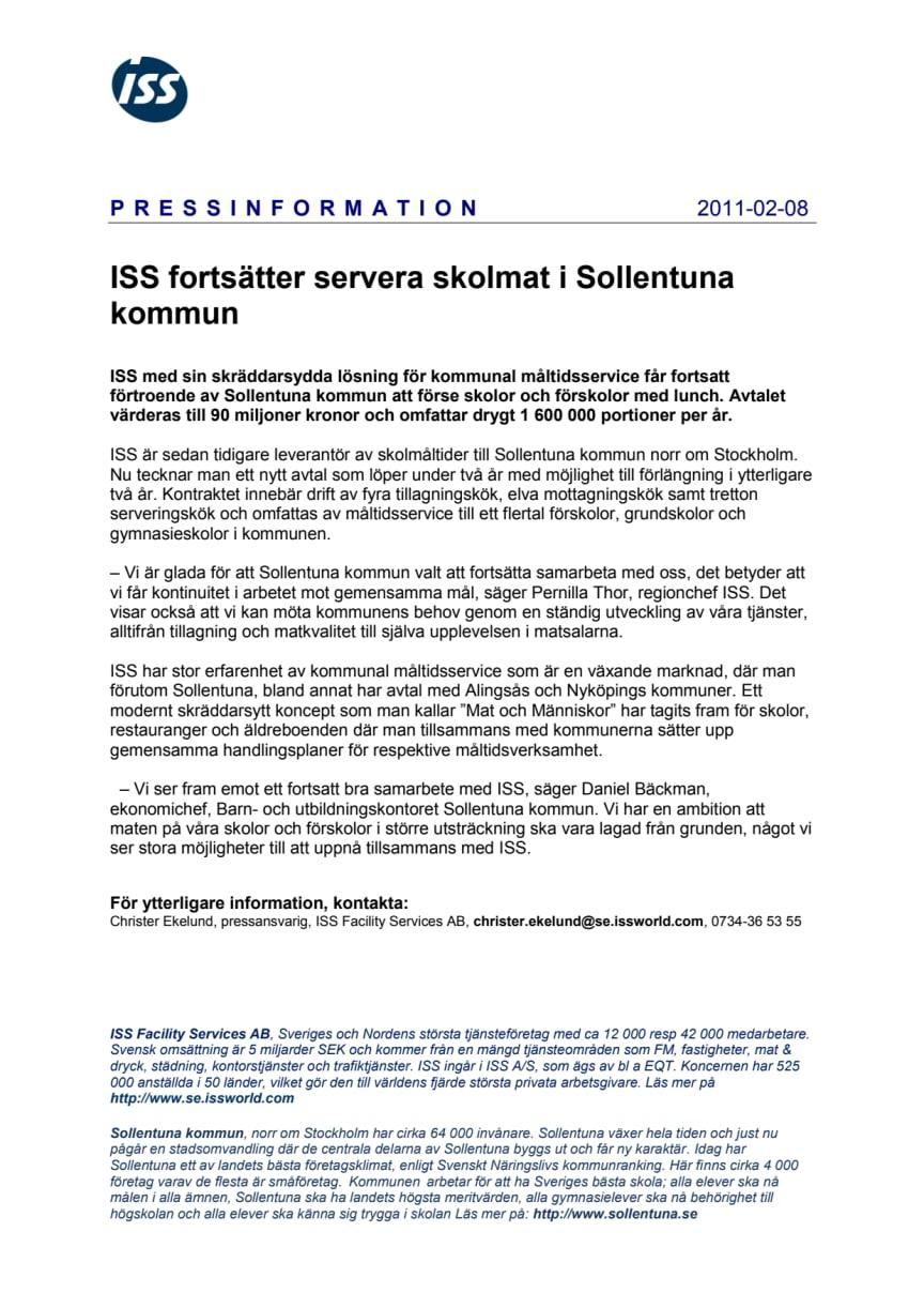 ISS fortsätter servera skolmat i Sollentuna kommun