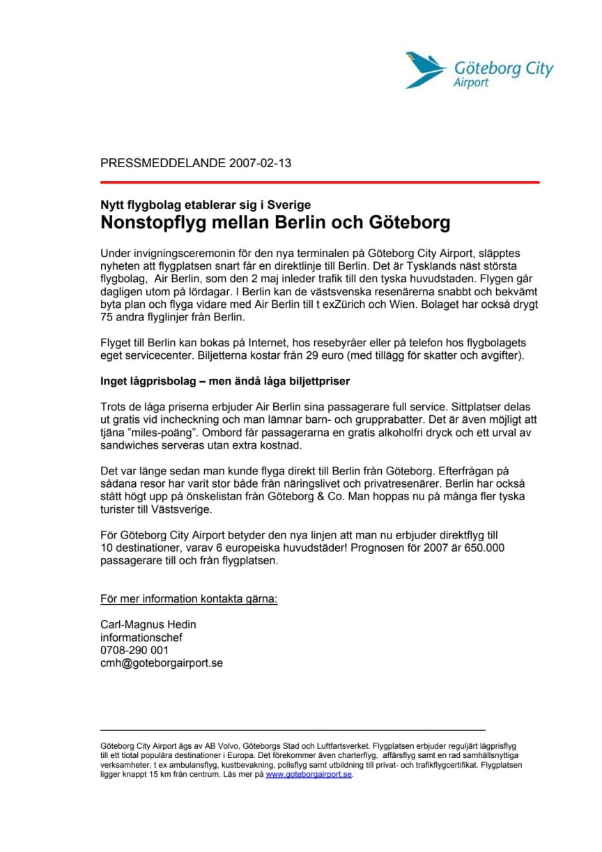 Nonstopflyg mellan Berlin och Göteborg