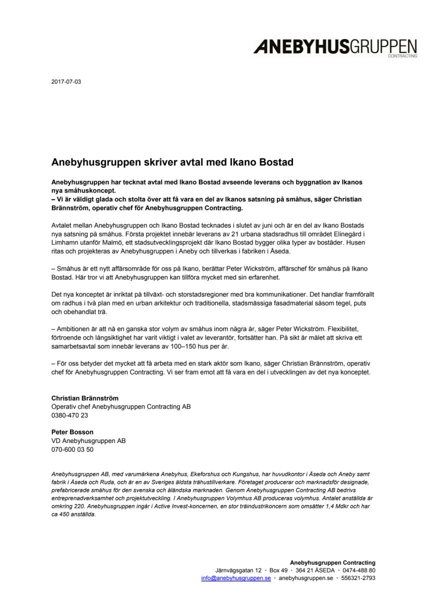 Anebyhusgruppen skriver avtal med Ikano Bostad