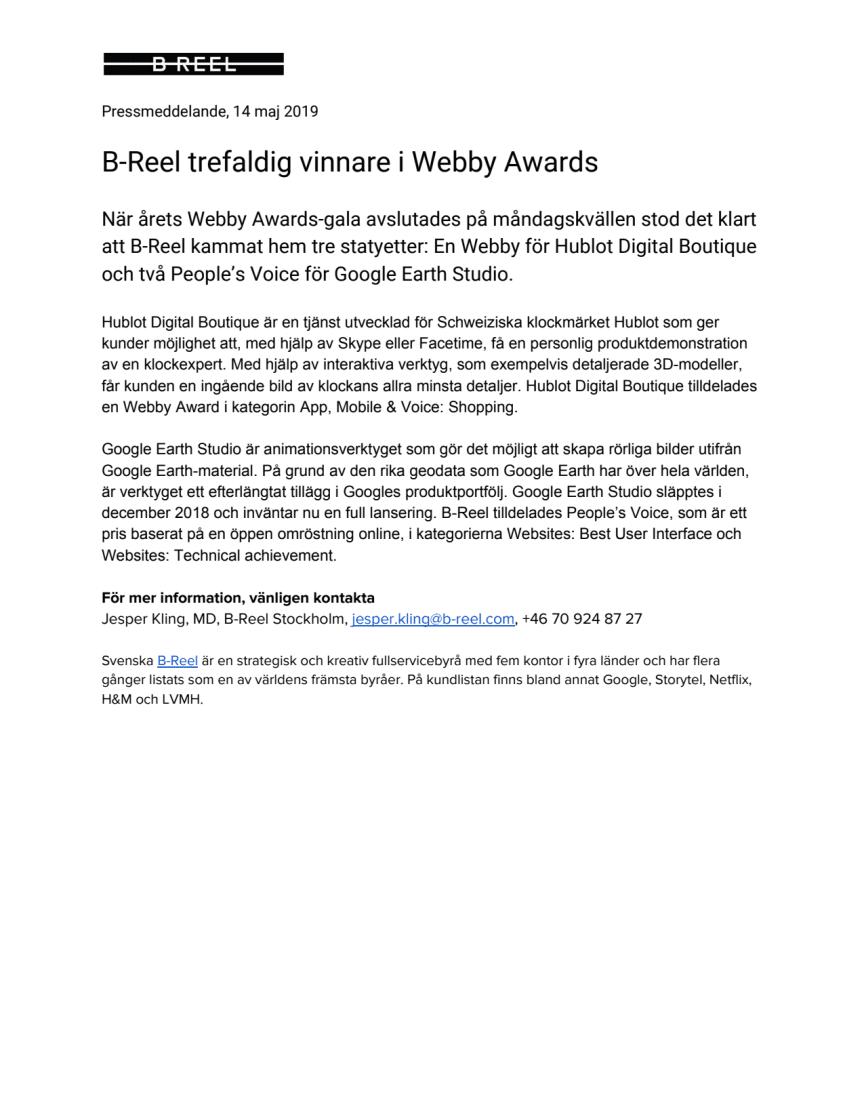 B-Reel trefaldig vinnare i Webby Awards
