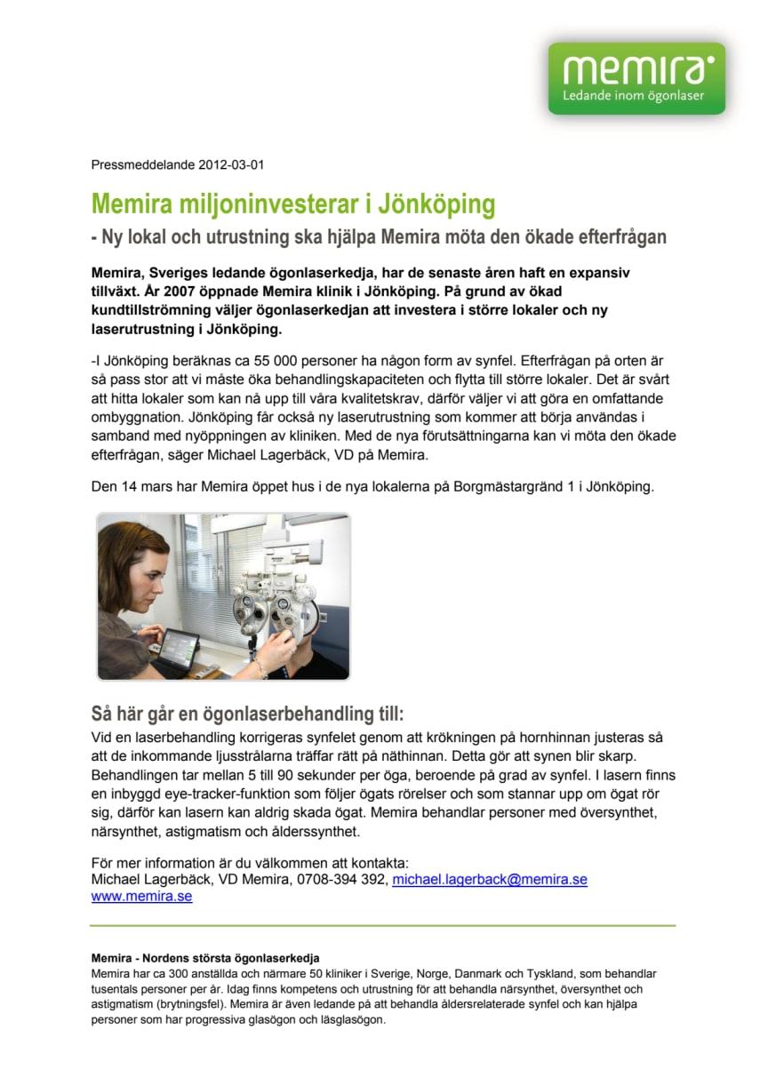 Memira miljoninvesterar i Jönköping