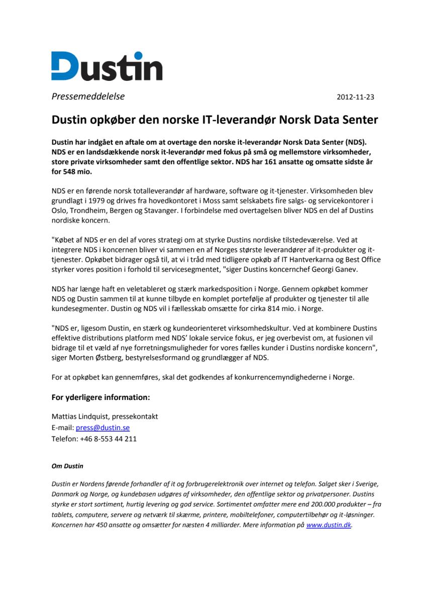 Dustin opkøber den norske it-leverandør Norsk Data Senter