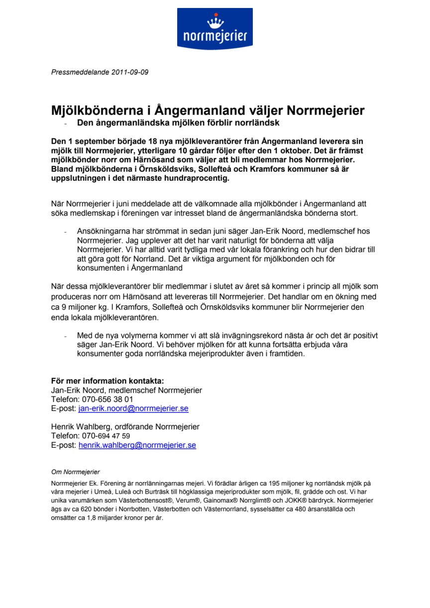 Mjölkbönderna i Ångermanland väljer Norrmejerier - den ångermanländska mjölken förblir norrländsk