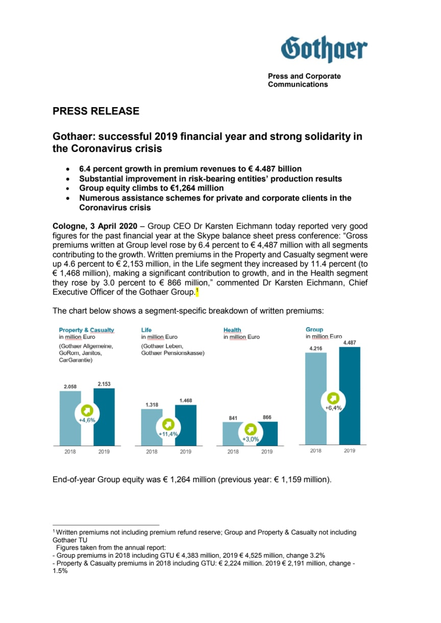 Press Release: financial year 2019 - English Version