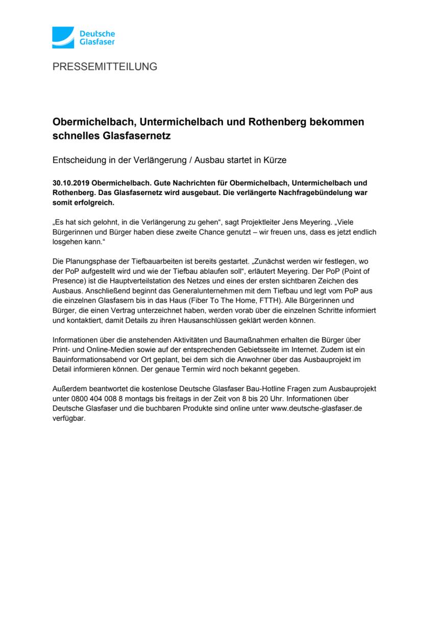 Obermichelbach, Untermichelbach und Rothenberg bekommen schnelles Glasfasernetz
