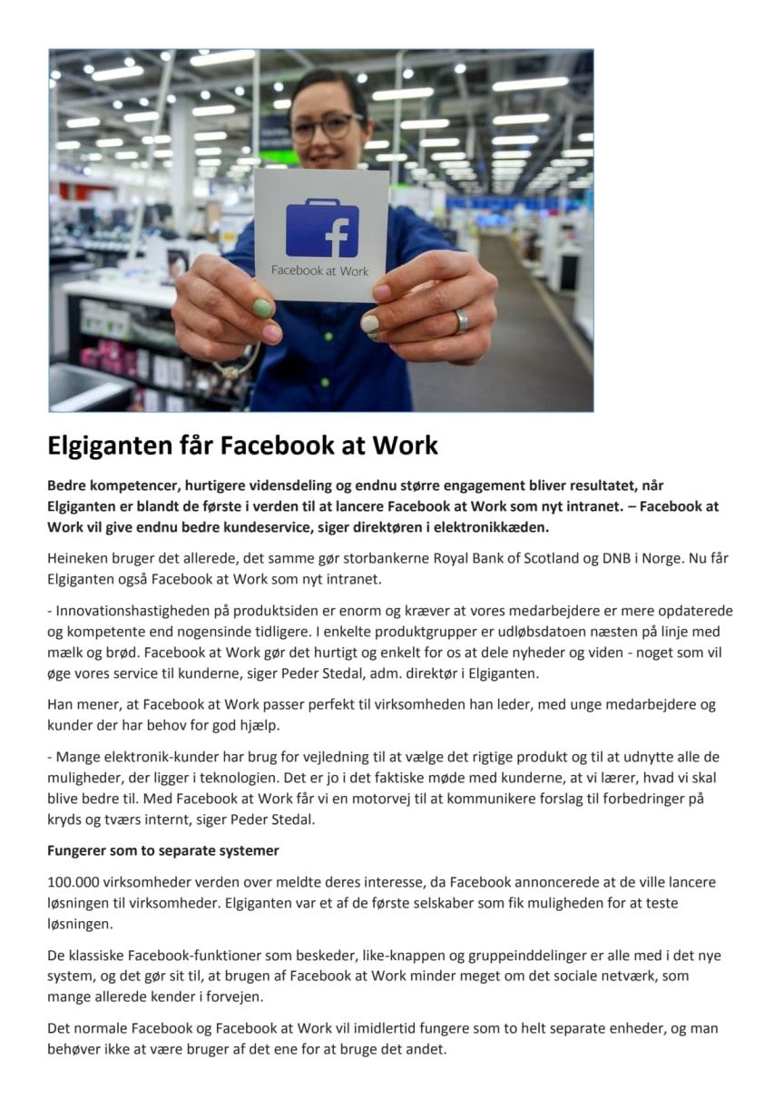 Elgiganten får Facebook at Work