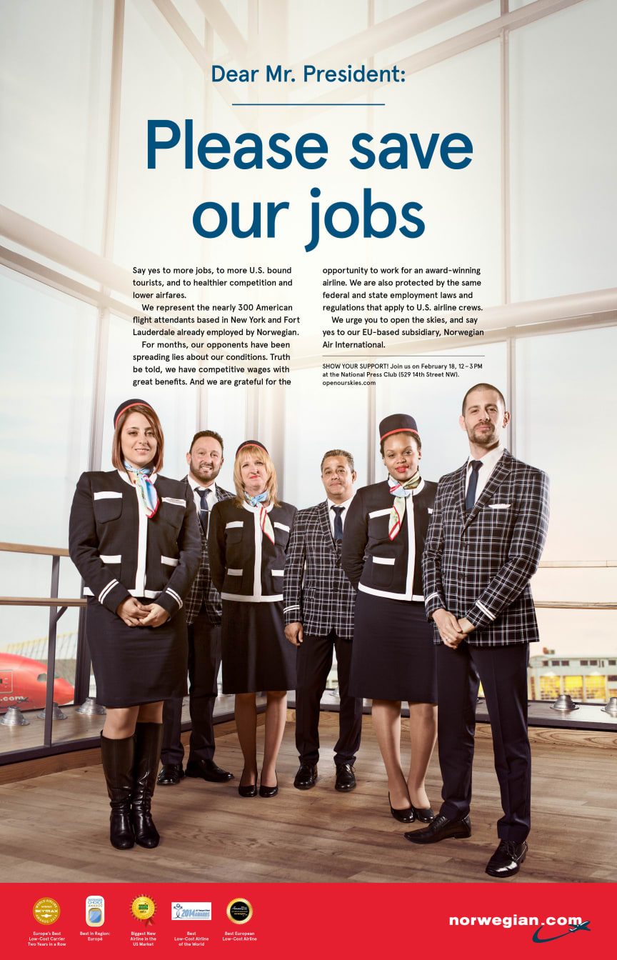 """Norwegian's US-based cabin crew urges President Obama to """"Save Our Jobs"""""""