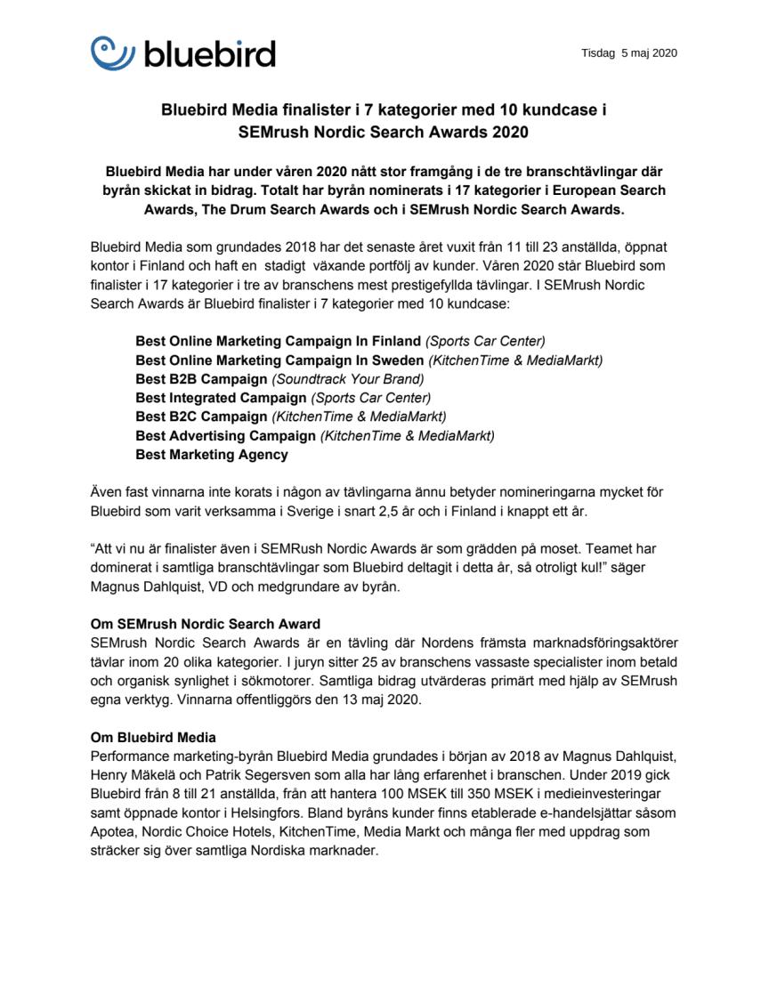 Bluebird Media finalister i 7 kategorier med 10 kundcase i SEMrush Nordic Search Awards 2020