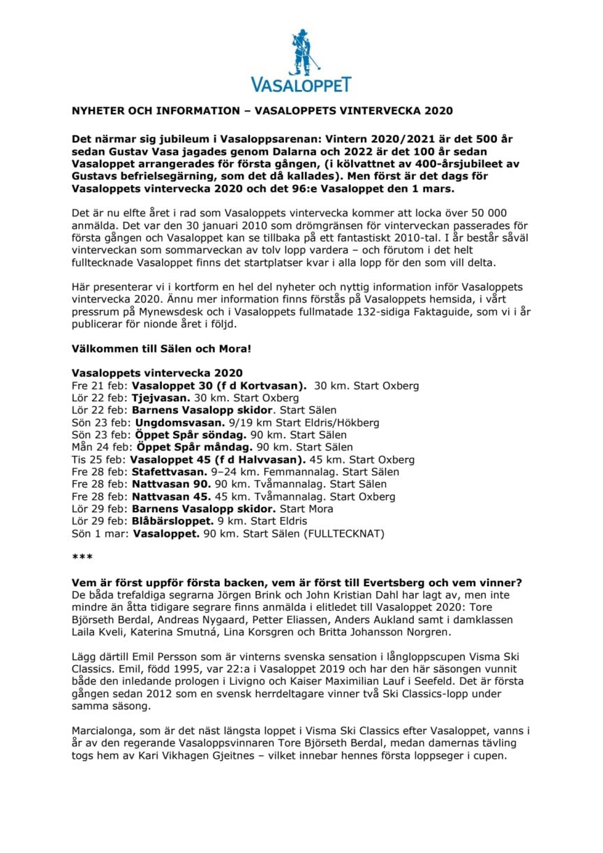 Nyheter och info Vasaloppets vintervecka 2020