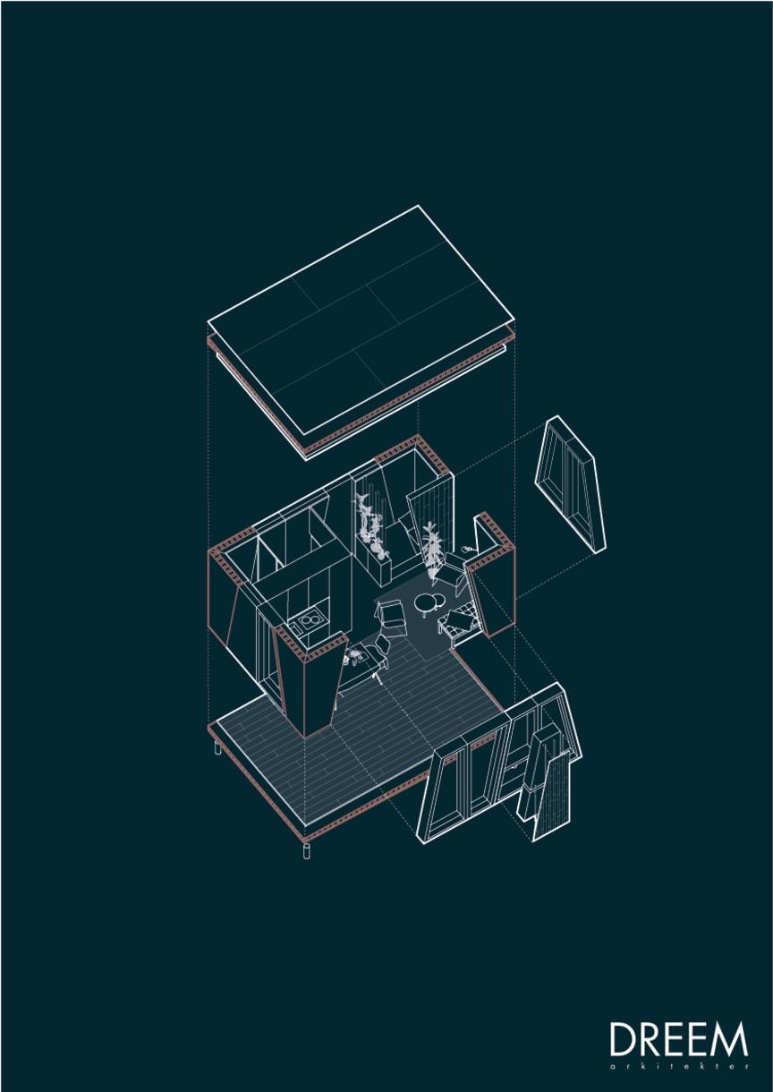 Ritning över modulen i förslaget 'Collective Geometries' använd i enbostadshus.