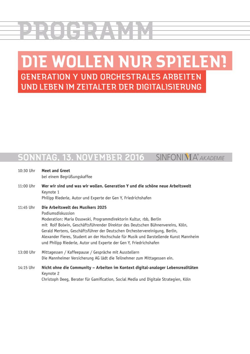 Programm SINFONIMA Akademie und Deutscher Orchestertag 2016