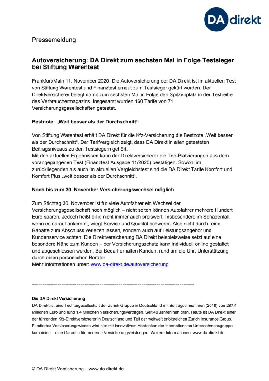 Autoversicherung: DA Direkt zum sechsten Mal in Folge Testsieger bei Stiftung Warentest