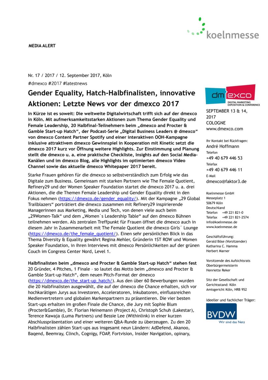 Gender Equality, Hatch-Halbfinalisten, innovative Aktionen: Letzte News vor der dmexco 2017