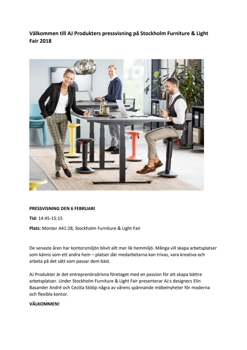 Välkommen till AJ Produkters pressvisning på Stockholm Furniture & Light Fair 2018