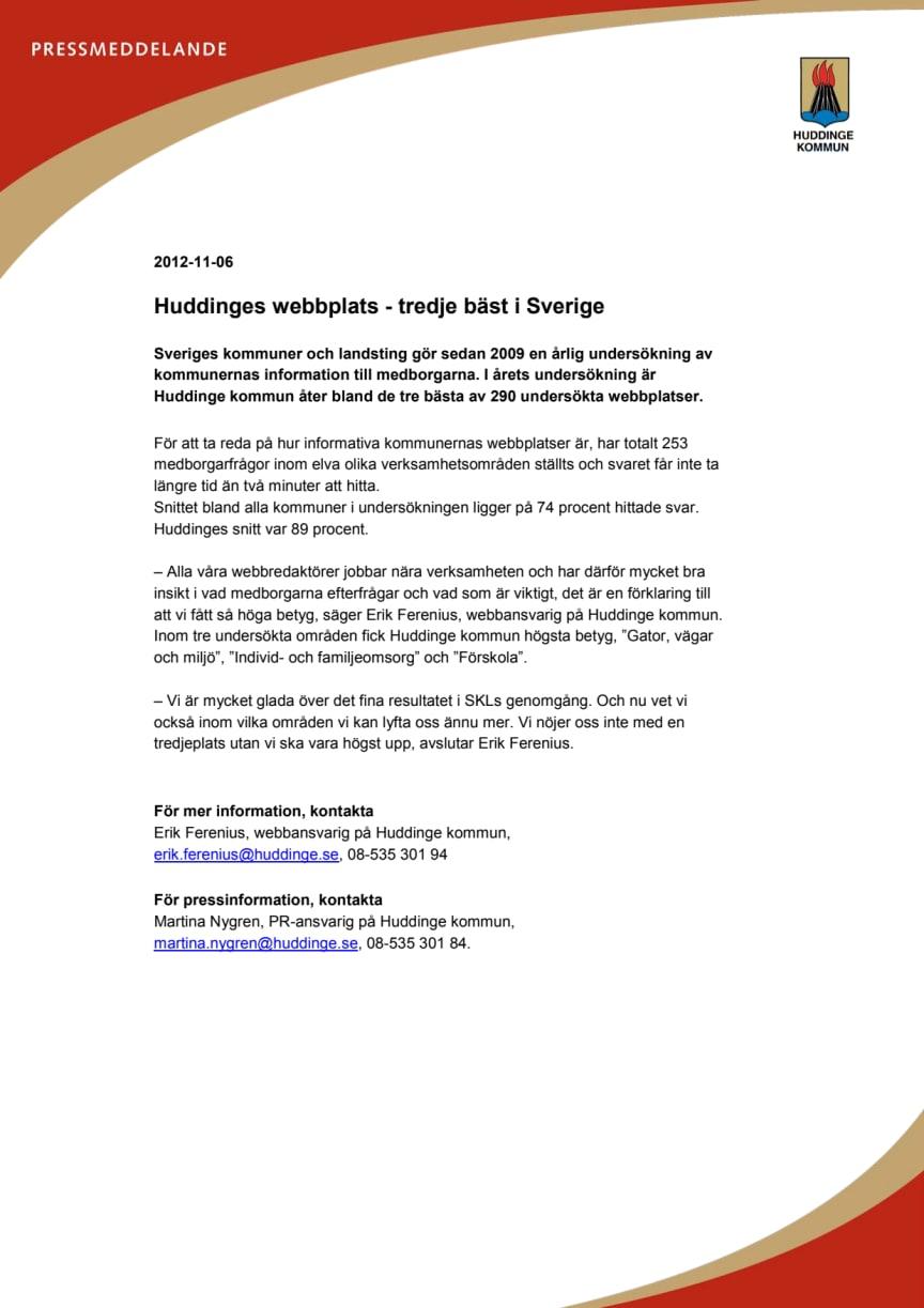Huddinges webbplats - tredje bäst i Sverige