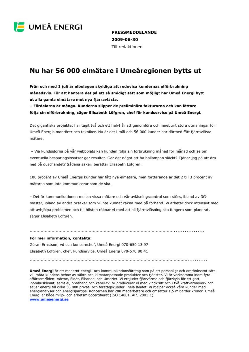 Nu har 56 000 elmätare i Umeåregionen bytts ut