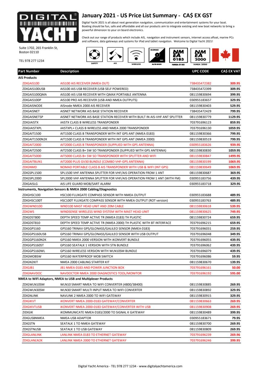 Digital Yacht 2021 Canada Price List