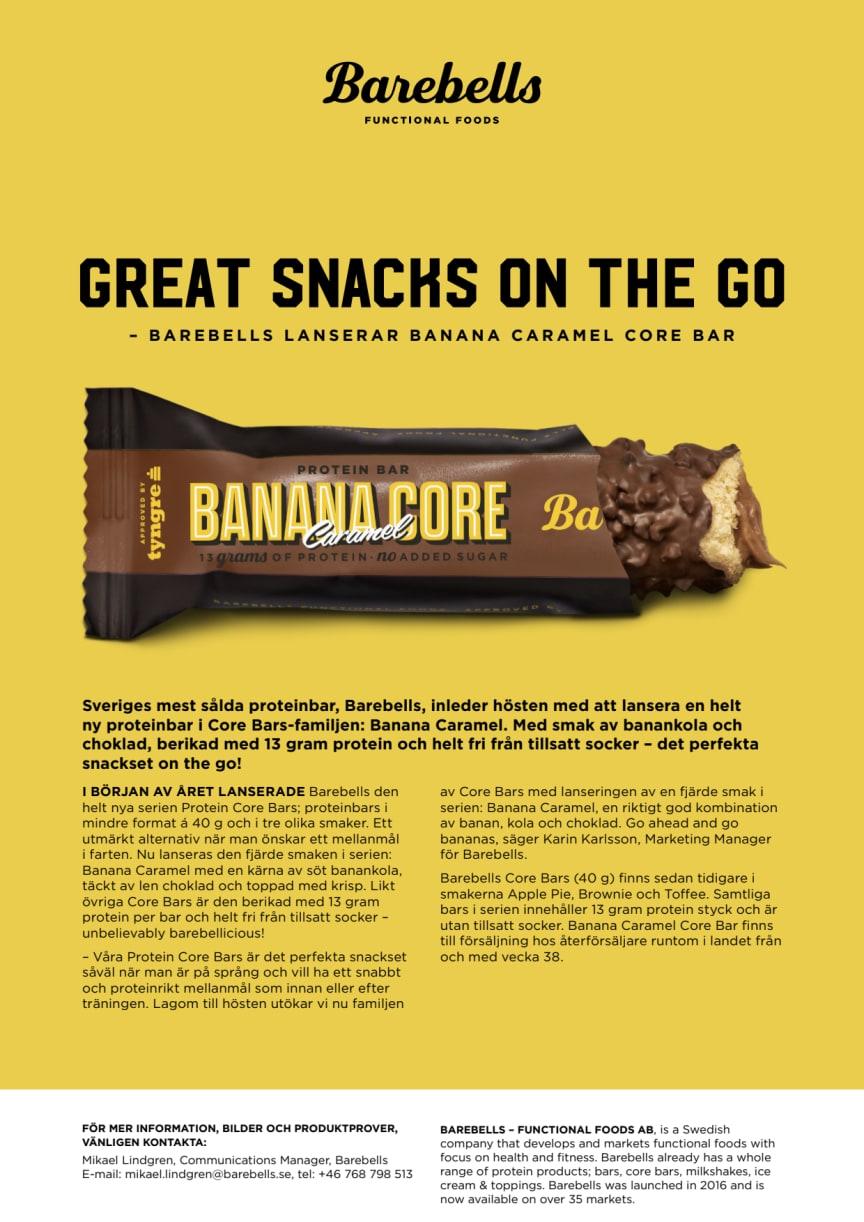 Pressmeddelande Barebells Banana Caramel Core Bar