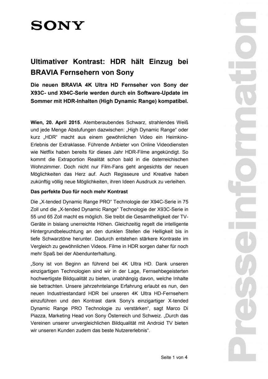 Pressemitteilung BRAVIA HDR Update von Sony