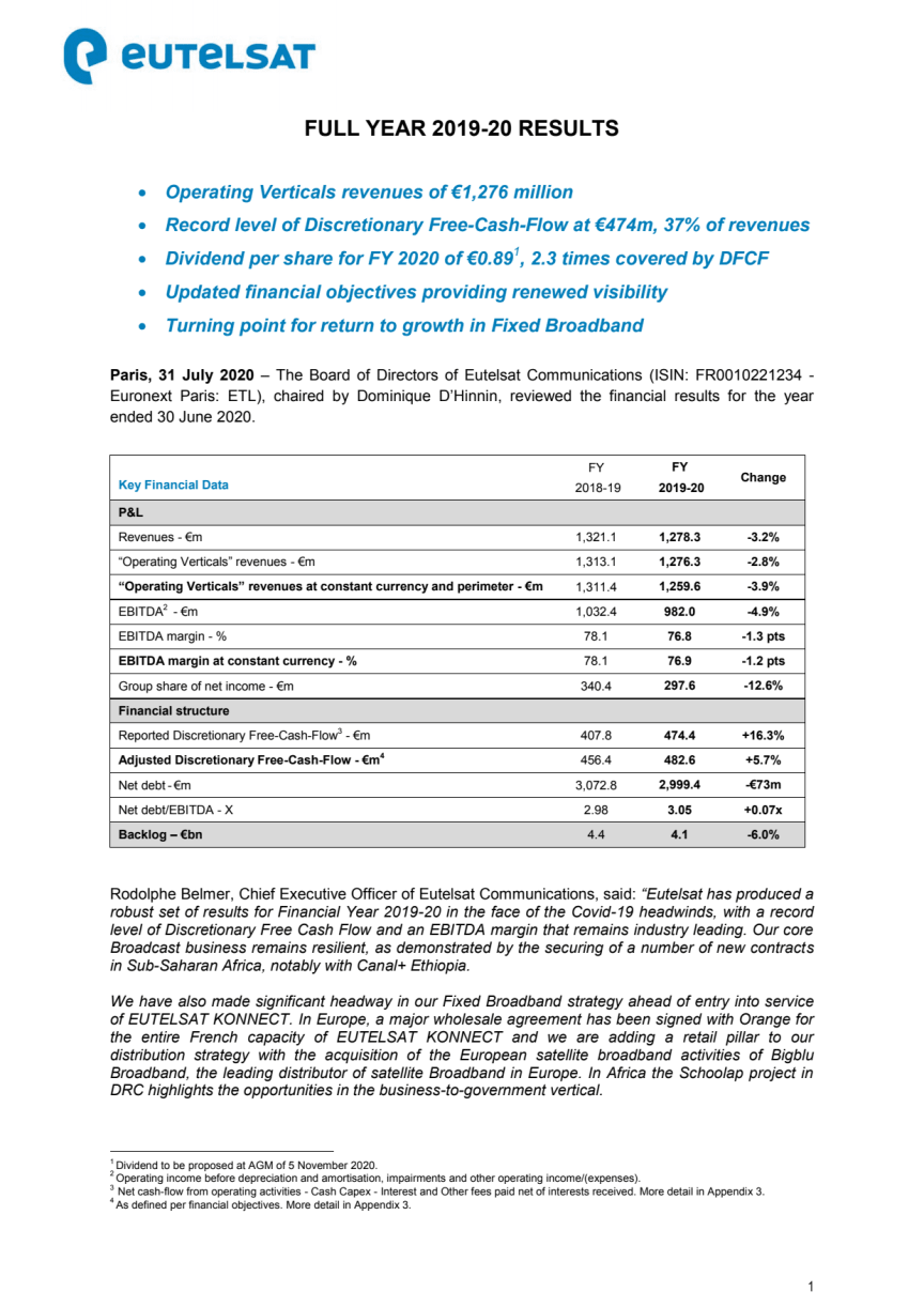 FULL YEAR 2019-20 RESULTS
