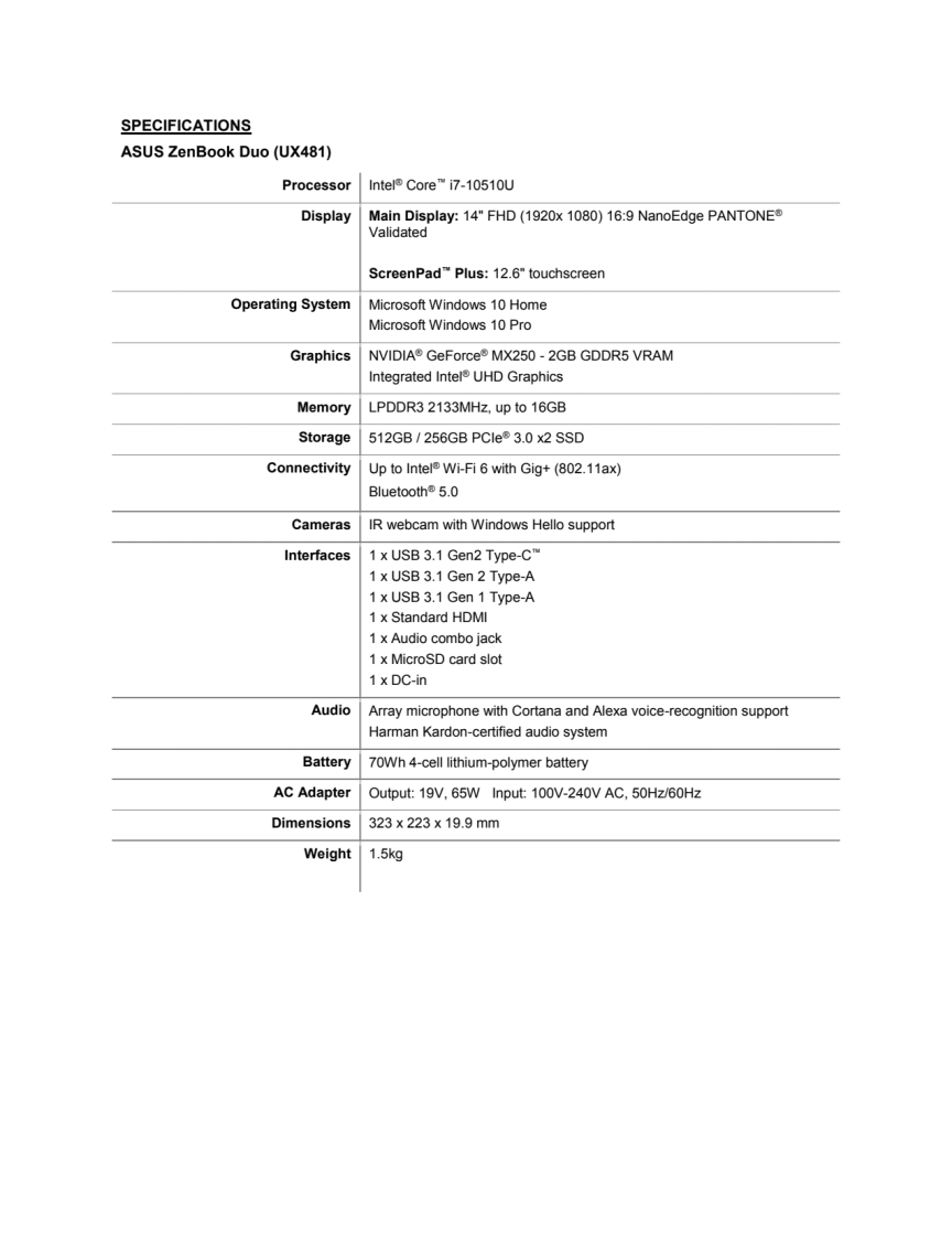 UX481_Specifications