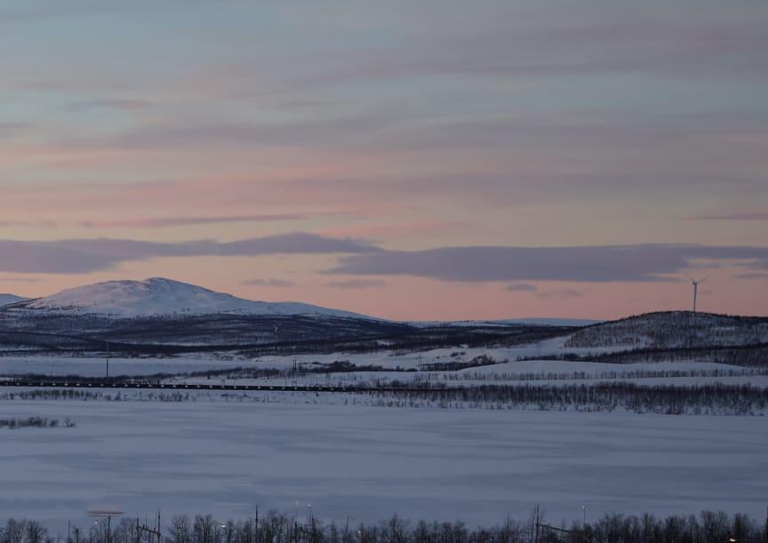 Utsikt, Brf Fjällblicken, Riksbyggen, Kiruna