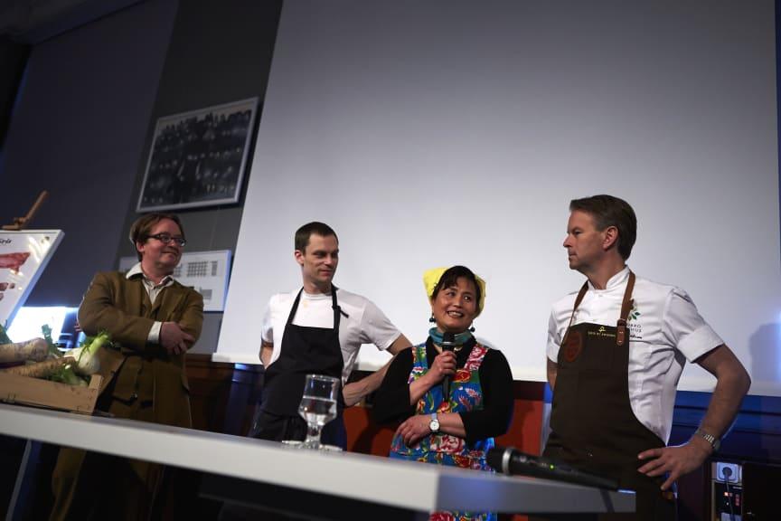 Fyra kockar presenterar sina tolkningar av svensk gris