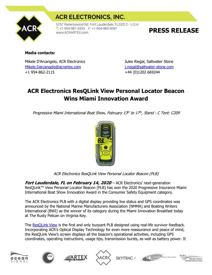 ACR Electronics ResQLink View Personal Locator Beacon Wins Miami Innovation Award
