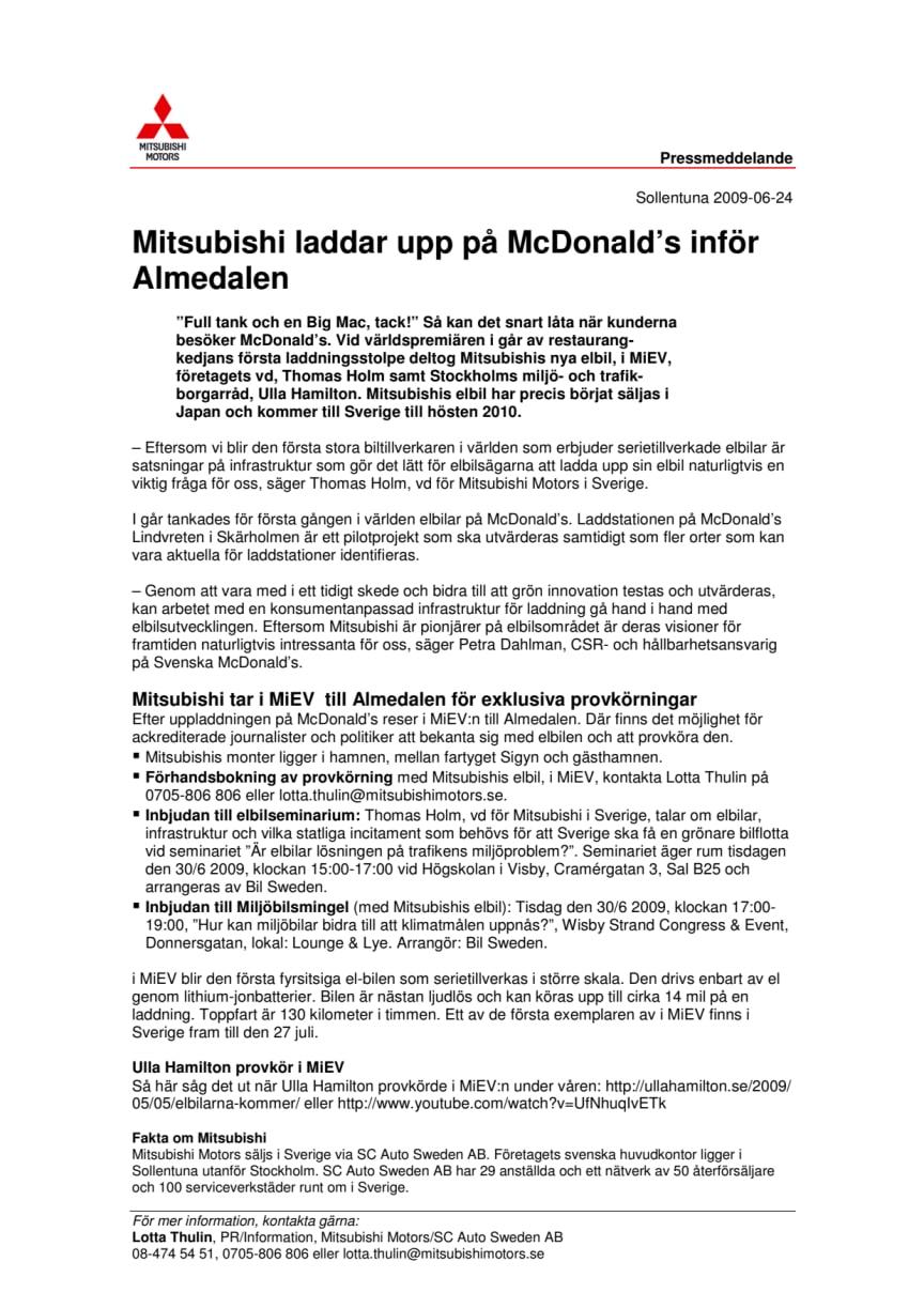 Mitsubishi laddar upp på McDonald´s inför Almedalen