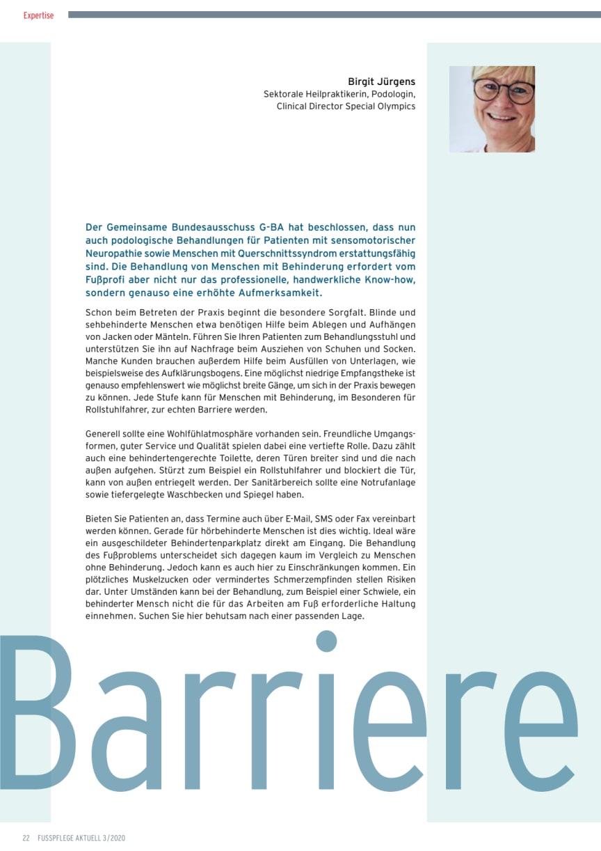 Barrierefrei. Menschen mit Behinderung in der Fußpflegepraxis