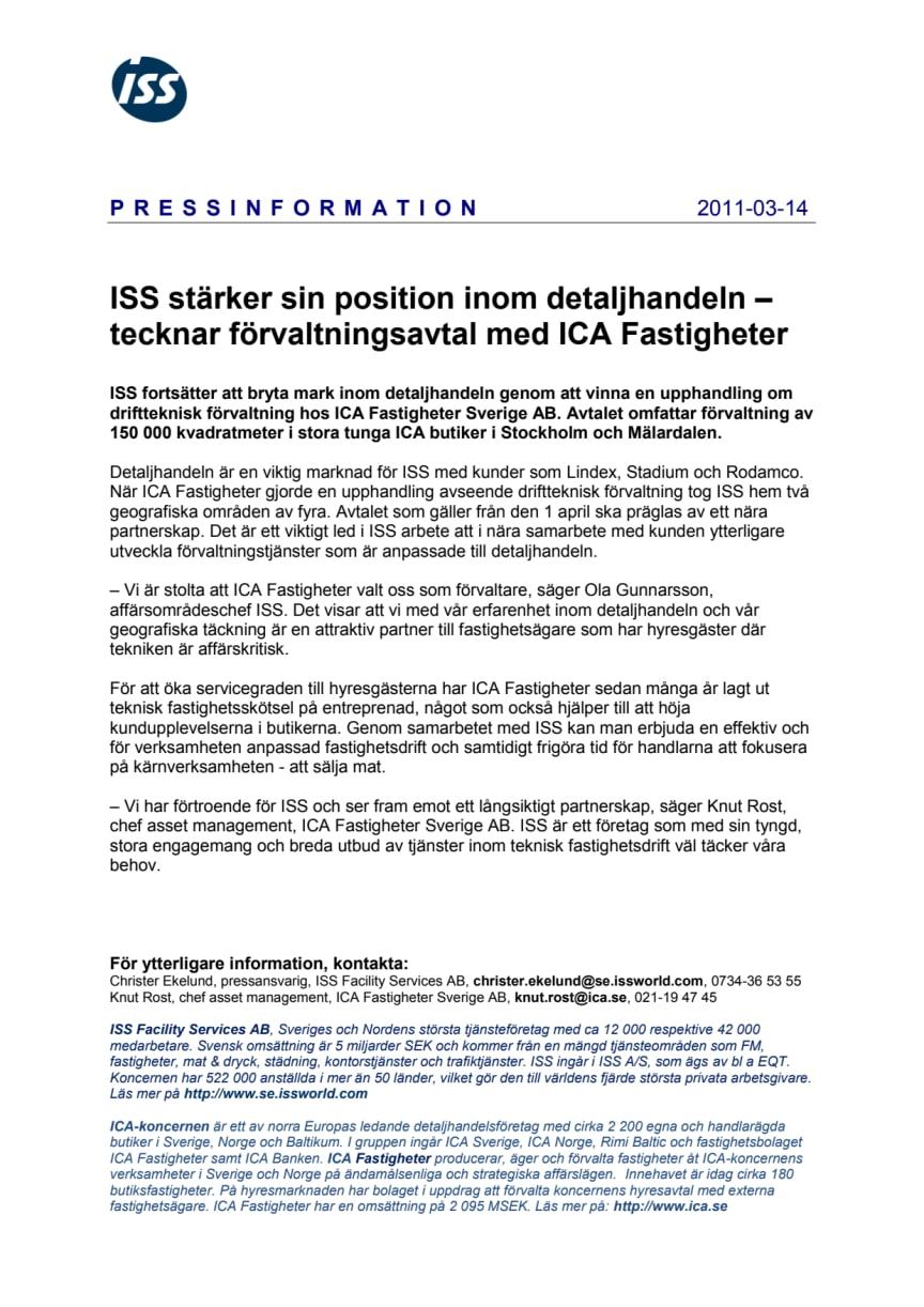 ISS stärker sin position inom detaljhandeln – tecknar förvaltningsavtal med ICA Fastigheter