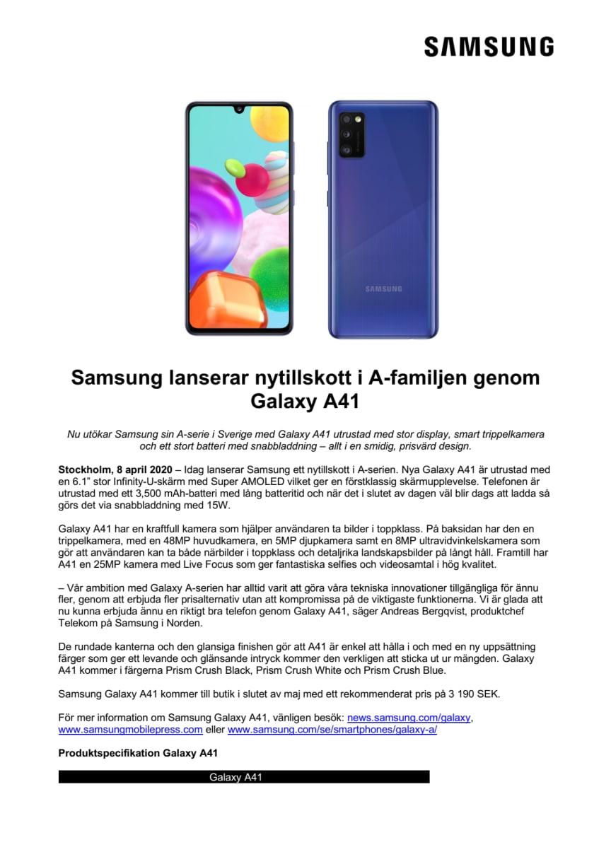 Samsung lanserar nytillskott i A-familjen genom Galaxy A41