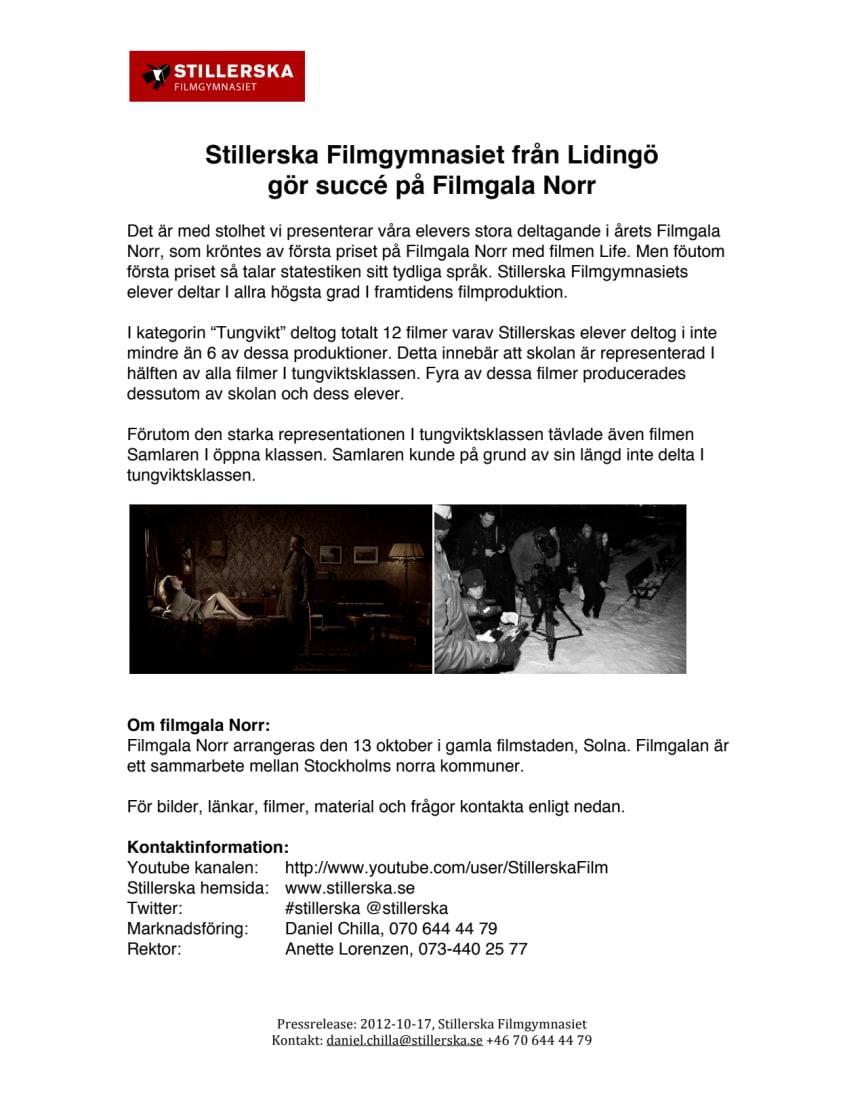 Stillerska Filmgymnasiet från Lidingö  gör succé på Filmgala Norr