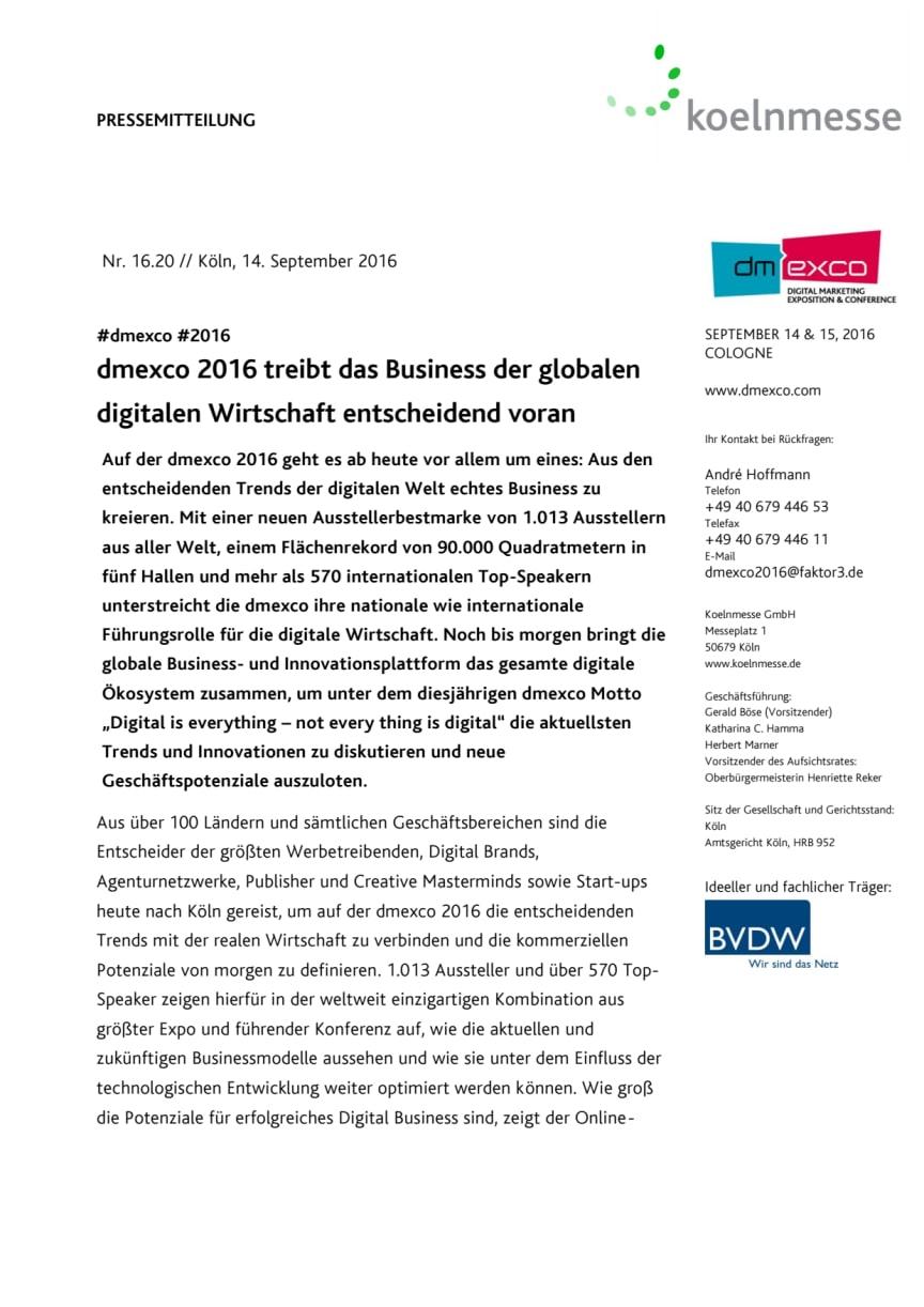 dmexco 2016 treibt das Business der globalen digitalen Wirtschaft entscheidend voran