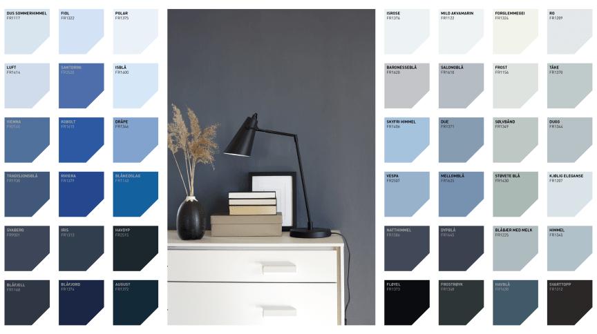 Plansje over blå farger fra Fargerike