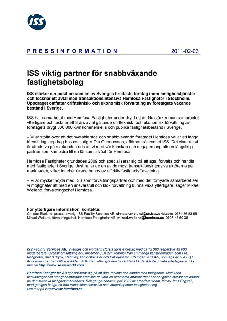 ISS viktig partner för snabbväxande fastighetsbolag