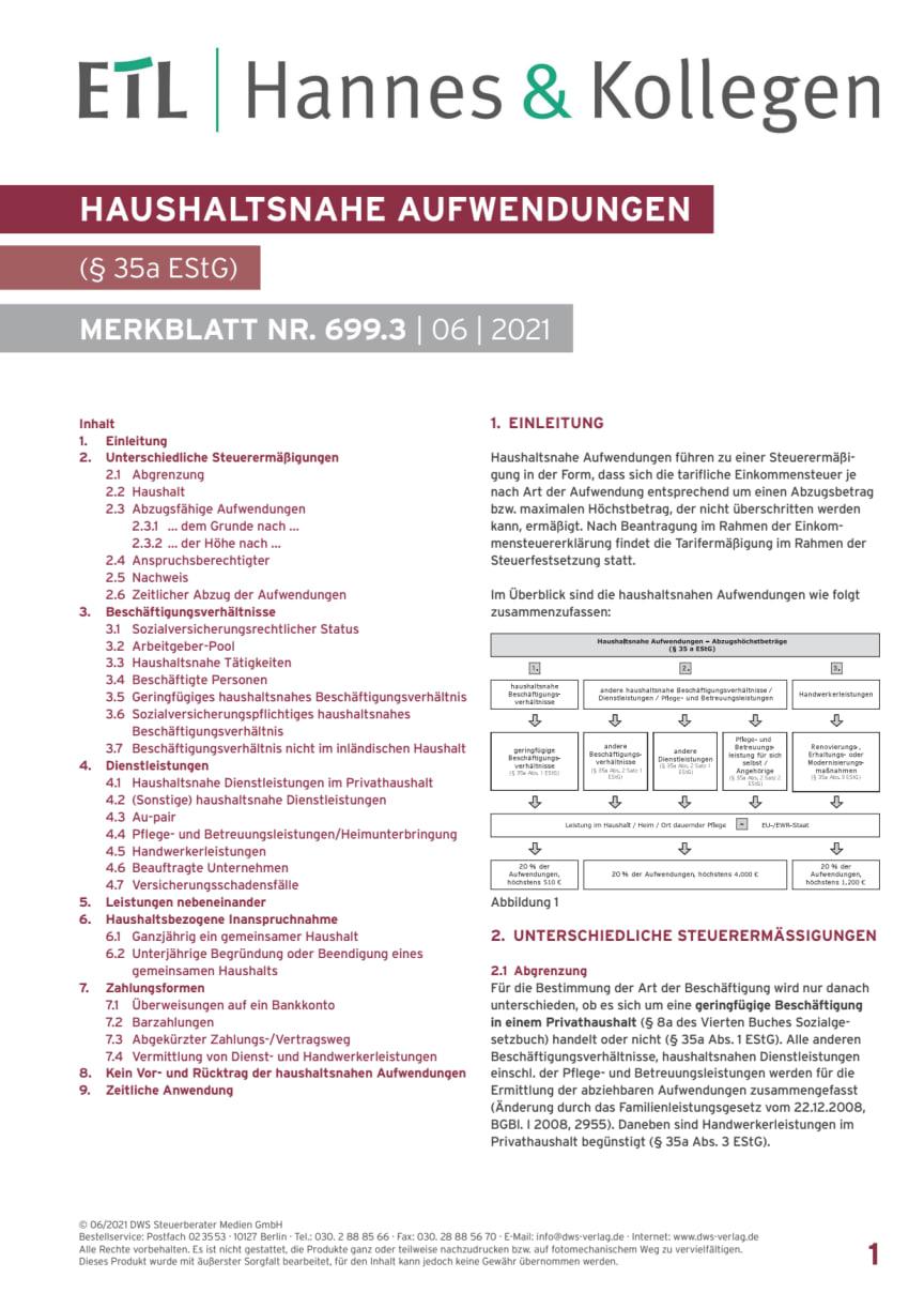 """Merkblatt """"Haushaltsnahe Aufwendungen"""" Stand 07.2021"""