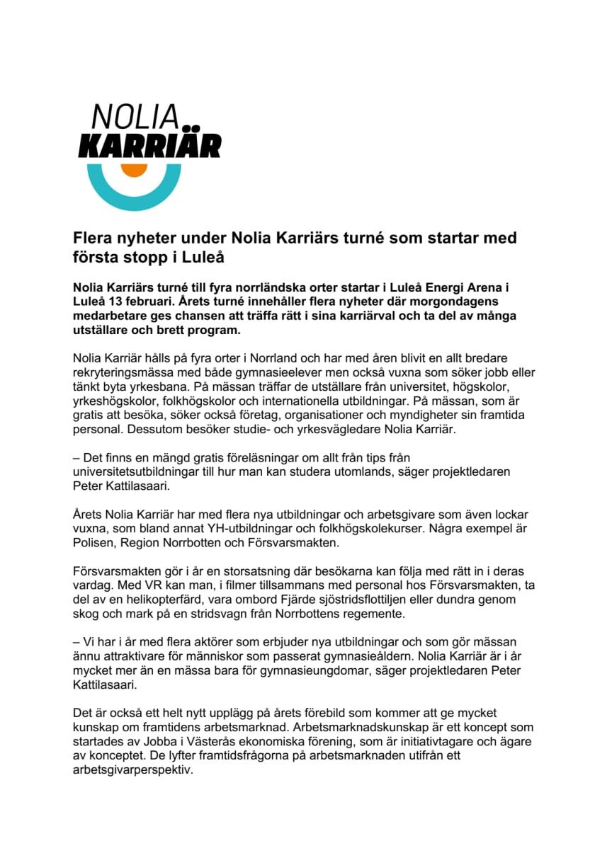 Flera nyheter under Nolia Karriärs turné som startar med första stopp i Luleå