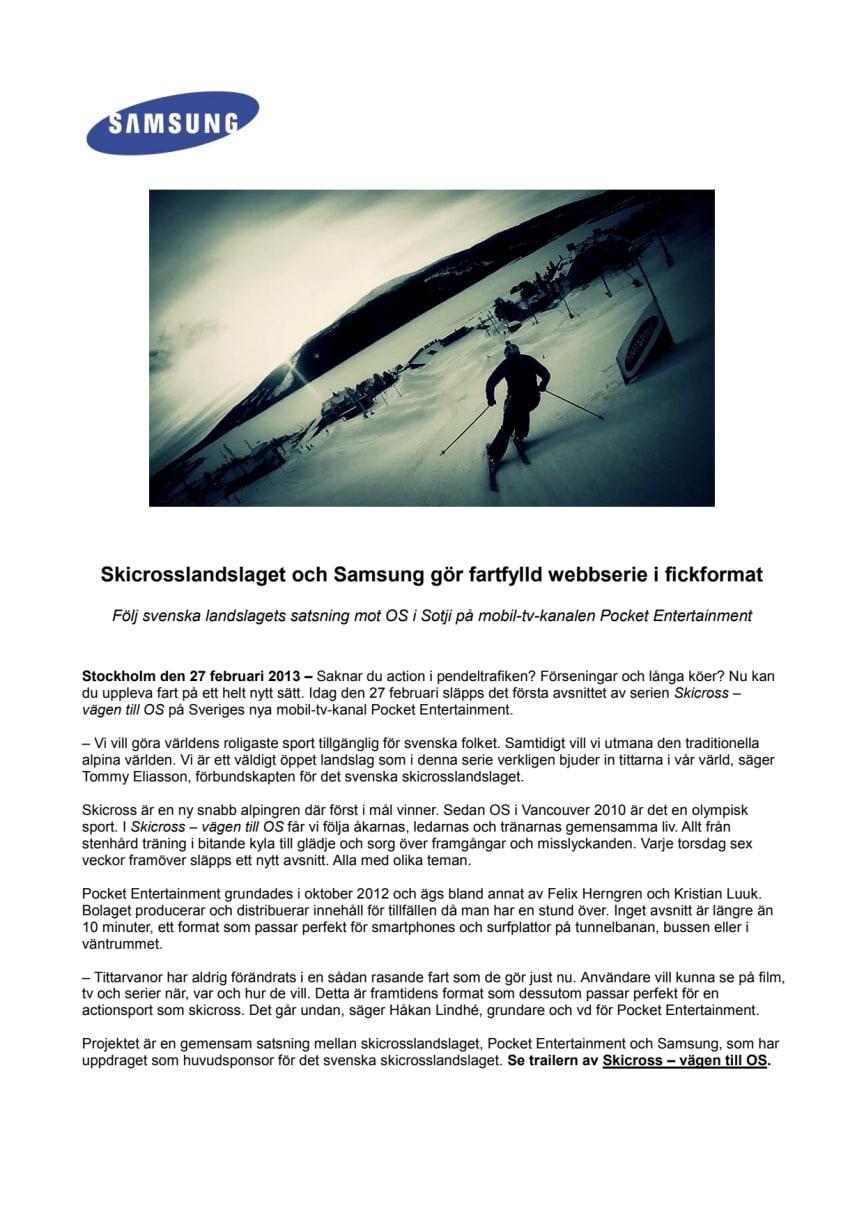 Skicrosslandslaget och Samsung gör fartfylld webbserie i fickformat
