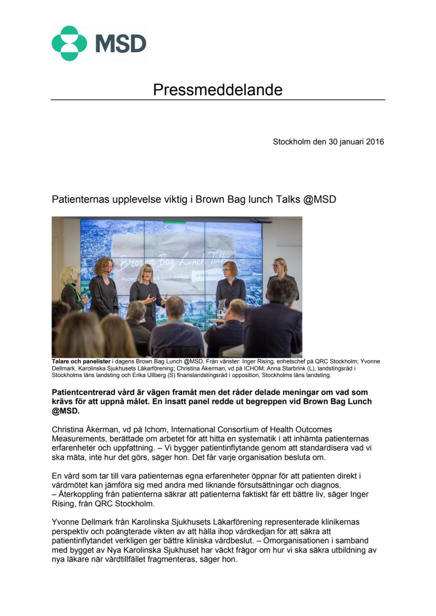 Patientupplevelse viktig i Brown Bag Lunch Talks @MSD