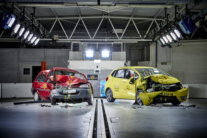 Euro NCAP 20th - the 1997 Rover 100 & a current Honda Jazz post-crash test. The Rover 'safety cell' is severely compromised, the driver compartment of the Jazz remains intact
