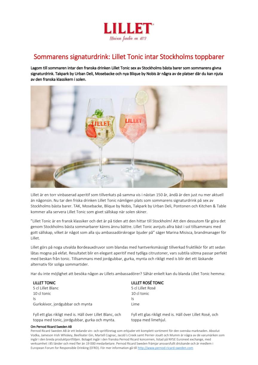 Sommarens signaturdrink: Lillet Tonic intar Stockholms toppbarer
