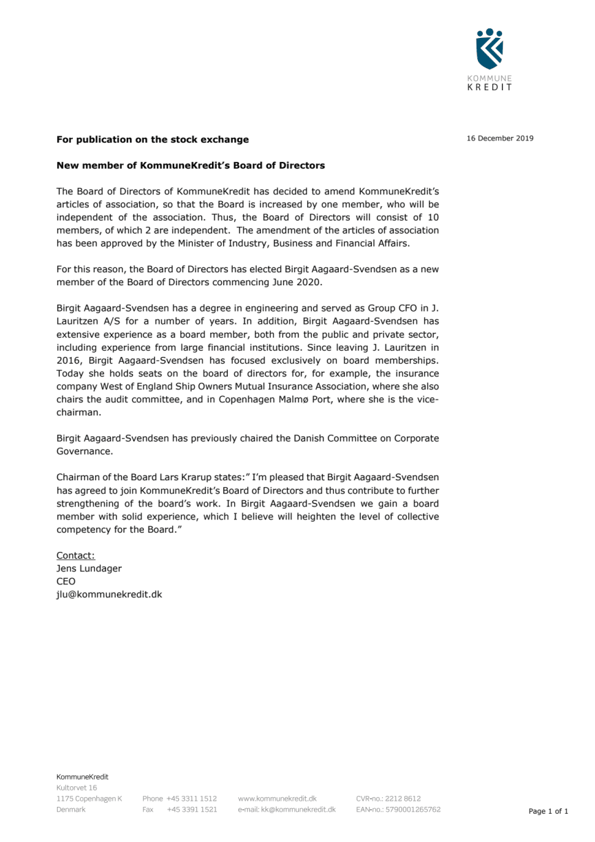 New member of KommuneKredit's Board of Directors
