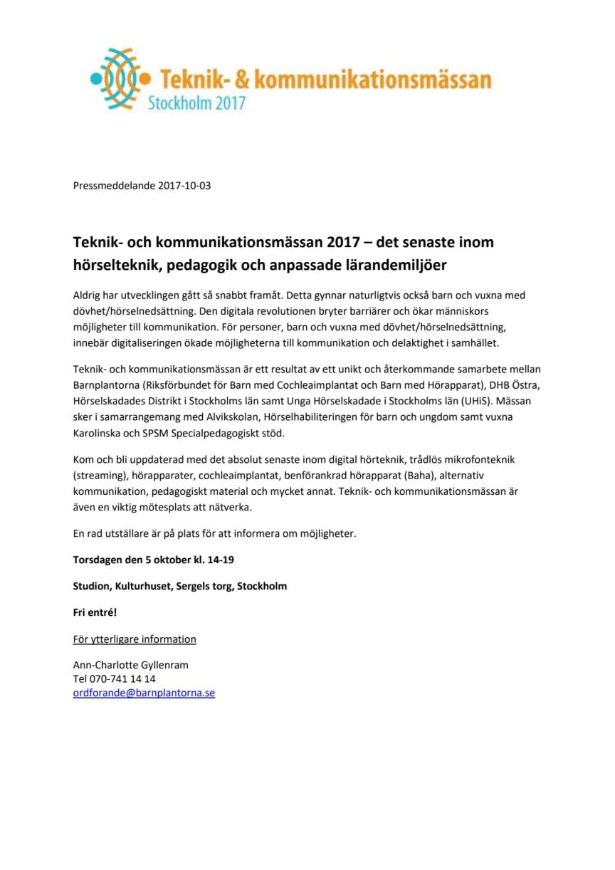Teknik- och kommunikationsmässan 2017 - Det senaste inom hörselteknik, pedagogik och anpassade lärandemiljöer