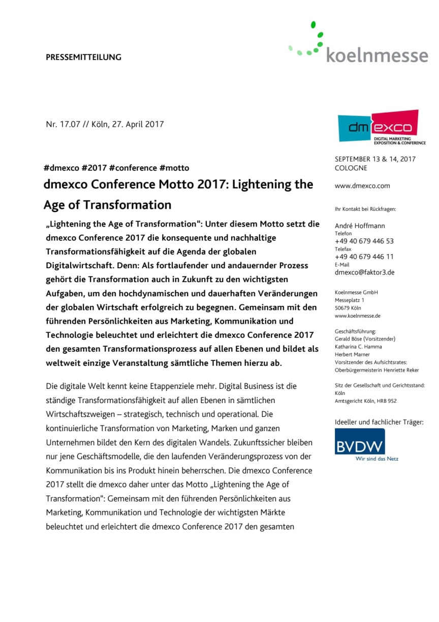 dmexco Conference Motto 2017: Lightening the Age of Transformation