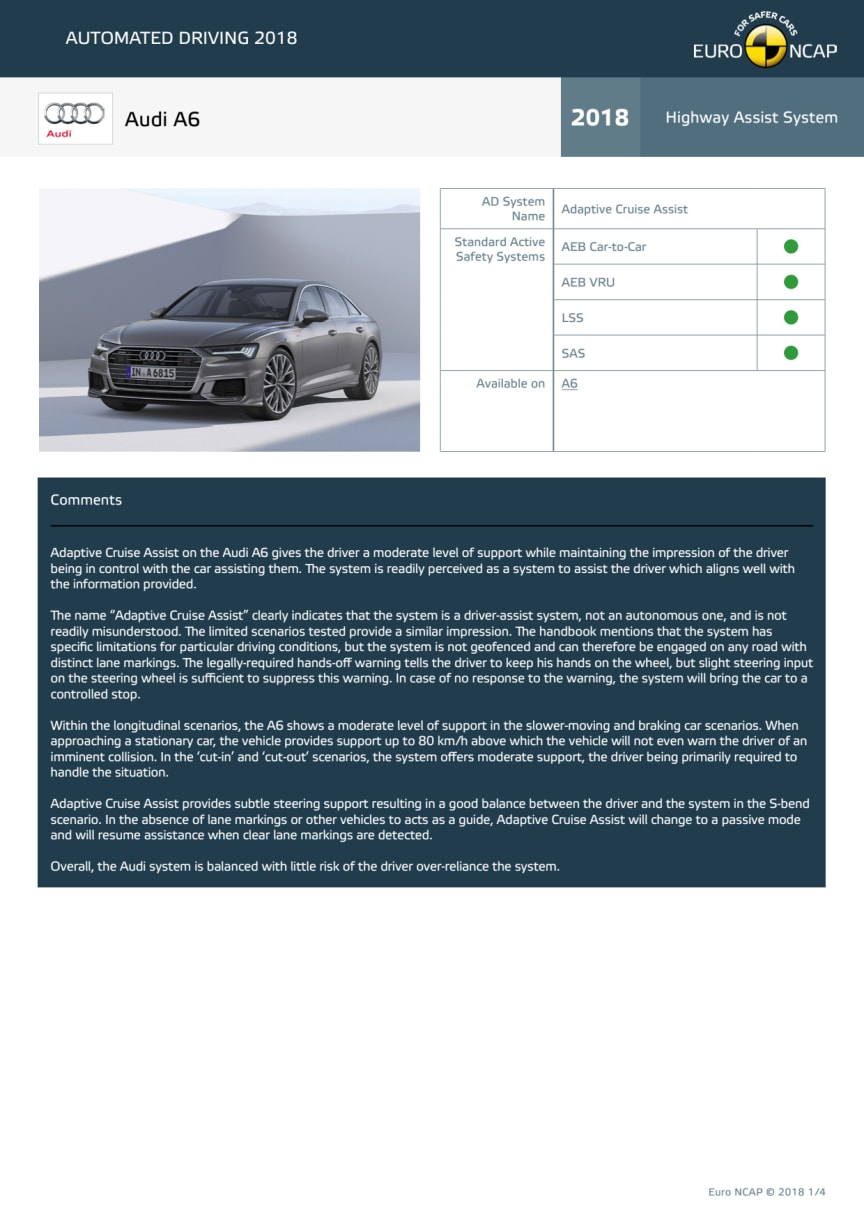 Automated Driving 2018 - Audi A6 datasheet - October 2018