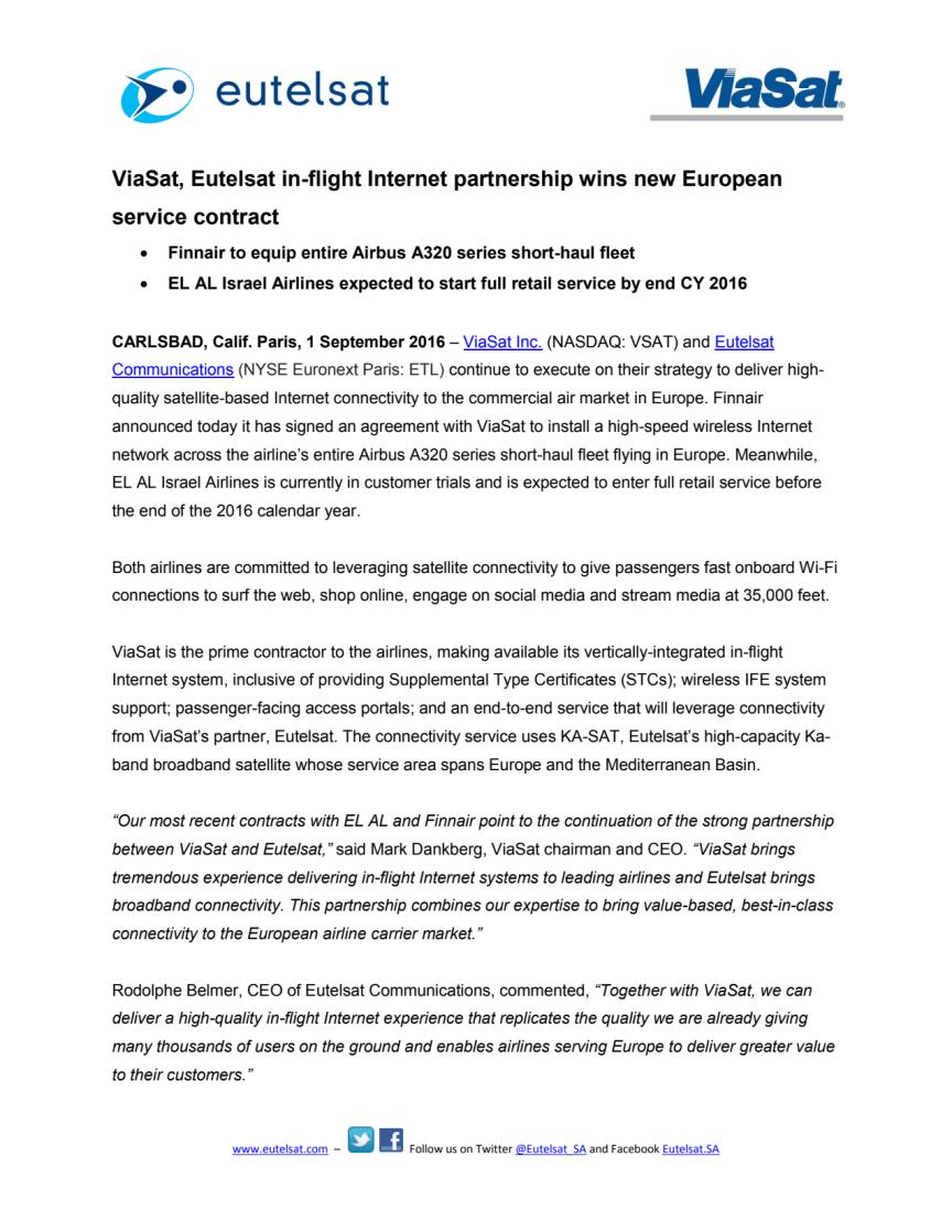 ViaSat, Eutelsat in-flight Internet partnership wins new European service contract