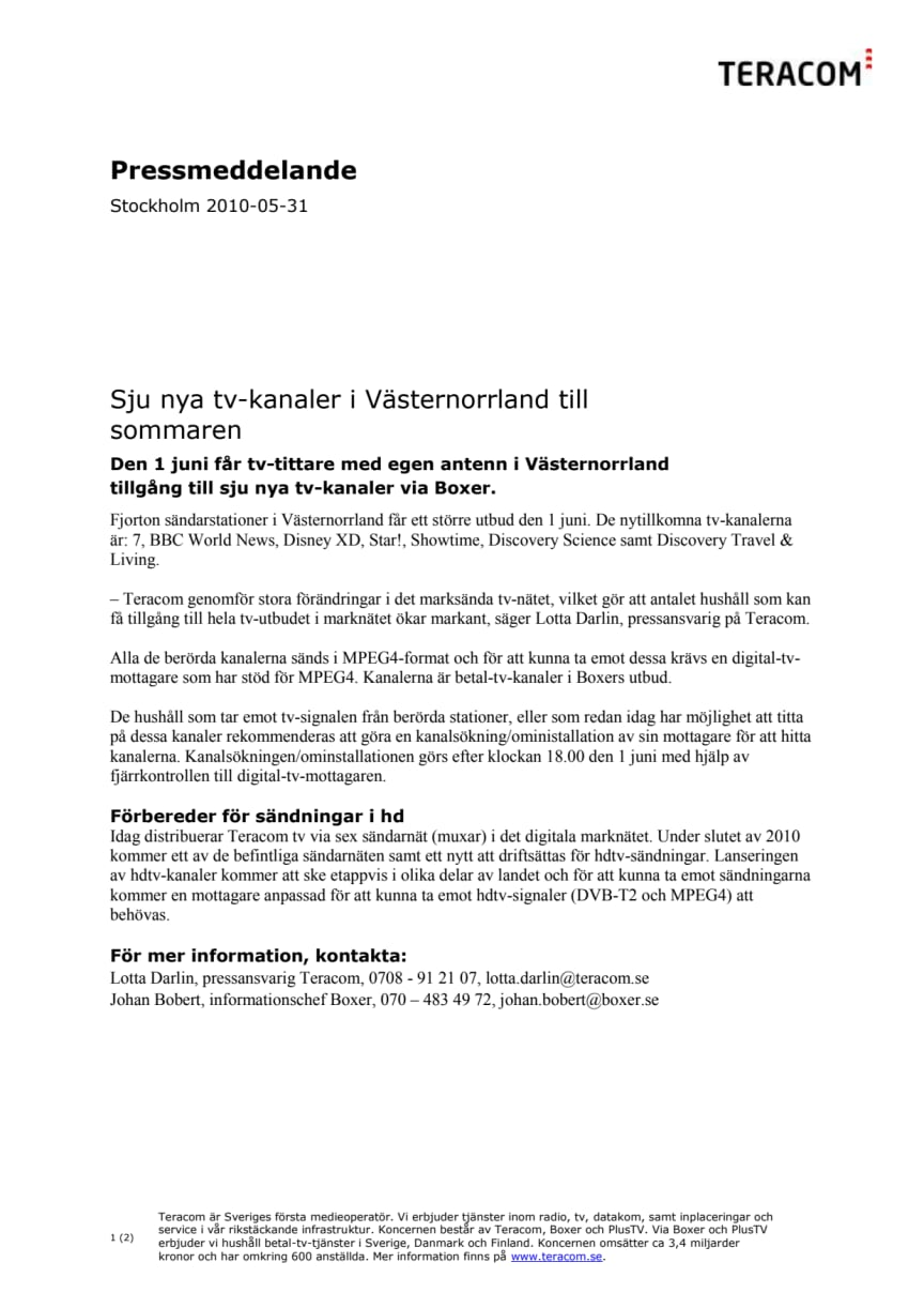 Sju nya tv-kanaler i Västernorrland till sommaren